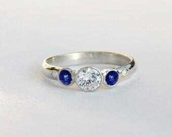 Three Stone Sapphire and Diamond Engagement Ring, 14k Yellow, White, or Rose Gold- Five Stone Ring, wedding ring - Custom Handmade to Order