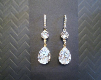 NEW Large Swarovski Gold and Clear Crystal Bridesmaid Earrings/Gold Bridesmaid Jewelry/Swarovski Earrings/Crystal Wedding Jewelry/Bridesmaid