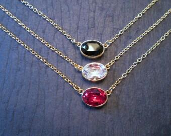 Swarovski Necklace/Swarovski Bridesmaid Jewelry/Crystal Bridesmaid Necklace/Fall Wedding Jewelry/Clear Crystal Necklace/Red Crystal Necklace