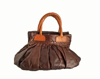 Large Leather Handbag / Brown Pebble