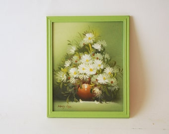 Mid Century Daisies Painting Green Signed