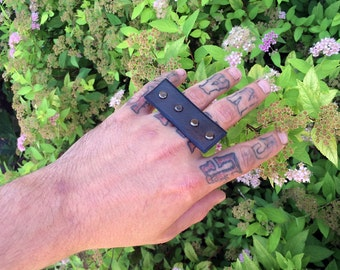 Black Leather Knuckle Ring with Mini Gun Metal Rivets // OSFA // OOAK // Unisex