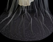 Stardust Crystal Scattered Bridal Veil, Chapel or Cathedral Length Wedding Veil with Scattered Crystals, White Diamond Ivory, Style 2012