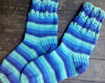 Hand Knitted Wool Socks -Colorful for Women - Size Small Medium-US W6,5-7,EU37,5-38