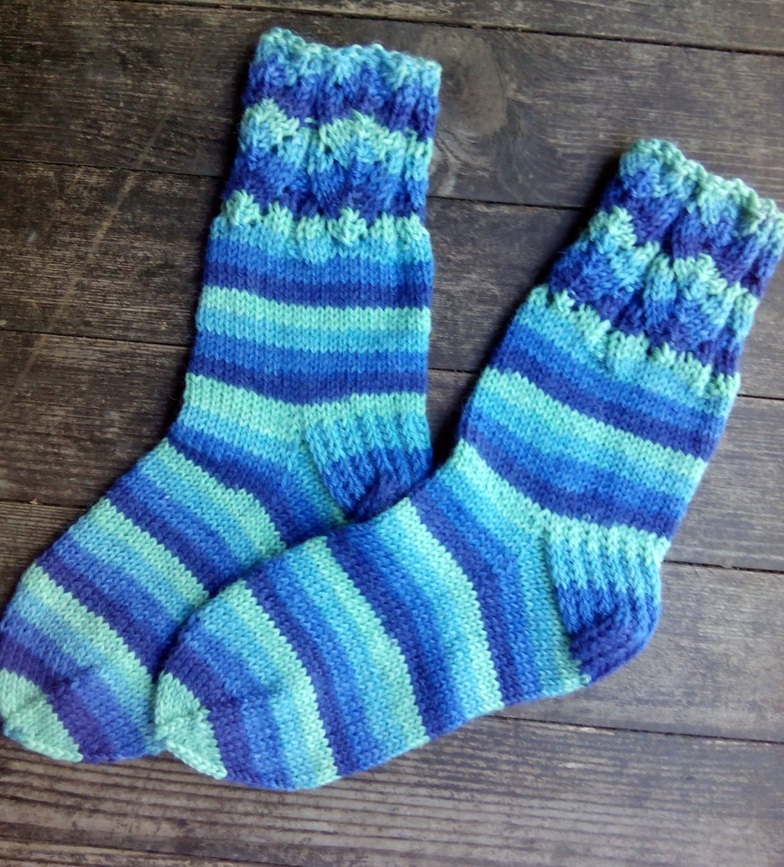 Hand Knitted Wool Socks Colorful for Women Size Small