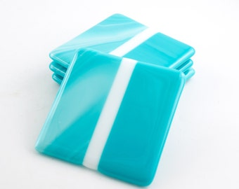 Turquoise Coasters, Fused Glass, Coaster Set, Cottage Chic Decor, Unique Home Accent, Bar Decorations, Table Top Display, Bartender Gifts