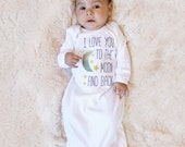 I Love You to the Moon and Back Long Sleeve Baby Gown