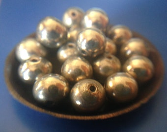 Antique Silver Plated Round Spacer Beads/ Jewelry Beading- Handmade- Good Old Patina
