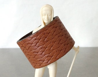 Brown Cuff Bracelet - Leather Snap Wristband Basket Weave Tooled - Size Small