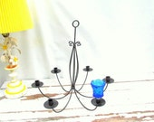 SALE Vintage Black Wrought Iron Chandelier Six Candle Holders