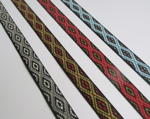 Contrast Jacquard Ribbon Aztec Tribal African Pattern 15mm wide - sold by the metre - red green blue grey black brown