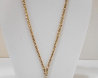 "Vintage 26"" Gold Tone Rhinestone Necklace (2271) 1"" Gold Tone Bell Dangle"