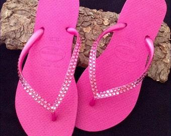 Crystal Hot Pink Havaianas Slim Flip Flops Rose Fuchsia Magenta Custom Wedding w/ Swarovski Rhinestone jewels Bling Beach Bride Sandal Shoes