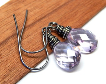 Sterling silver amethyst jewelry, gift for her, gift for women, February birthday jewelry, Pink drop earrings