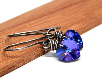 Blue Heart earrings, wire wrapped, Swarovski drop crystal, valentines day jewelry, oxidized sterling silver