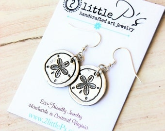 Leanne N ~  Beach Jewely, Nautical Jewelry, Ocean Jewelry, Gift for Her, Sanddollar Earrings