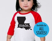Roots.  or  Made. Baby Toddler Kids All States and Washington DC Infant Poly Cotton 3/4 Sleeve Baseball Shirt