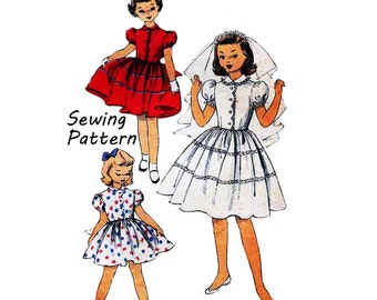 """Advance 6403 Tween Girl One-Piece Dress with Full Skirt Peter Pan Collar Front Scallops Sewing Pattern Size 10 Chest 24""""/61cm Vintage 1950s"""