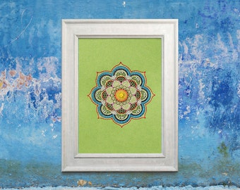 Green Mandala. Yoga Decoration. Paper Embroidery. Boho Stitch Art. Yoga Wall Art. Bohemian Art. Mandala Fiber Art Decor. Embroidery Wall Art