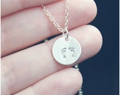 Baby Foot Print Necklace - Expecting Mom Jewelry - Baby Feet Necklace - Sterling Silver Push Gift - Baby Shower Gift