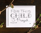 For This Child, New Baby Card, Baby Shower Card, Greeting Card, 1 Samuel 1:27, Baby Gift Card, Bible Verse Cards