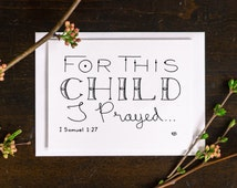 for this child new baby card baby shower card greeting card 1 samuel 1