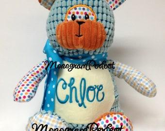Chloe - Already Personalized - Ready To Ship - Stuffed Patchwork Bear