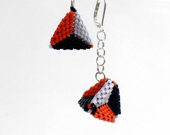 Asymmetric Earrings, Geometric Earings, Mismatched Earrings, Statement Earrings, Pyramid Earrings, Bright Bead Earrings, Beadwoven Earrings