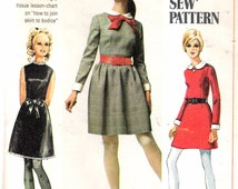"""Vintage 1968 Simplicity 7775 Dress in Two Lengths with Detachable Collar & Cuffs A """"How To Sew""""  Sewing Pattern Size 11 jp Bust 34"""""""