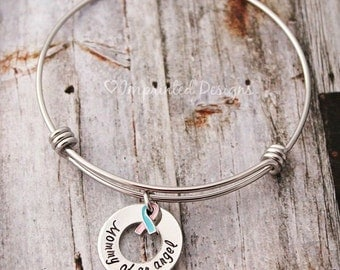 Charm Bracelet - Wire Bangle - PAIL - Sympathy Gift - Miscarriage - Remembrance Jewelry - Loss Of A Child - Mommy Of An Angel