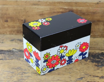 Vintage Colorful Floral Recipe Box / Black Lid / Metal