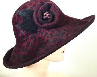 WIDE BRIM Burgundy Leopard Print Womens Hat, Large Brim Felt Hat, Kentucky Derby Hat