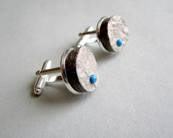 Recycled newspaper men's cufflinks • Paper anniversary gift for him