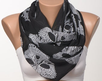 Black SKULL Scarf.  Dark Blue , Red , Black , Pink. Long women neck wrap. Gift idea scarf neck wrap