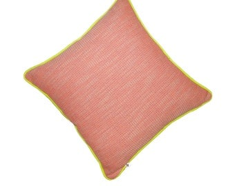 18x18 inch pink and orange tweed pillow piped with neon yellow