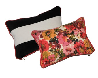 Fun Floral and Black and White Stripe Pillow 11x15 Velvet