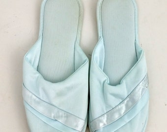 Vintage Baby Blue Satin Peep Toe Slippers / Size 5-6