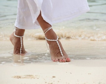 Beadwork with white pearl and satin cord barefoot sandal,beach wedding barefoot sandals, bangle, wedding anklet,bridesmaid accessories