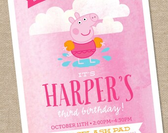 Peppa Pig Birthday Invitation // swim // - 5x7 Printable