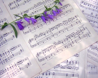 Vintage Sheet Music - 12 Pages of Old Sheet Music for Your Paper Crafting, Collage, Scrapbooking and Jewelry Making Needs