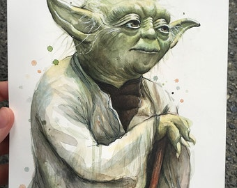 Yoda Watercolor Painting ORIGINAL Star Wars Jedi Master Portrait 7x10