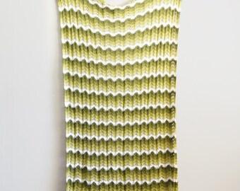 Vintage Green Stripe Crocheted Afghan Blanket