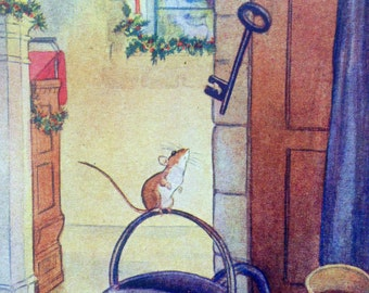 1961 CHRISTMAS ROBIN MOUSE and Key Print Ideal for Framing