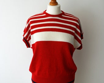 Vintage Red & White Striped Short Sleeved Batwing Knitted Sweater/ Jumper