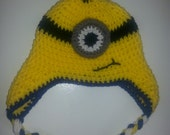 Minions!!! crochet hat, costume, children and adult, braids, fun