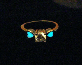 Heart Ring Glow In The Dark Ring Glowing Heart Jewelry SIZE US 6 (glows aqua blue)
