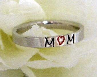 Name Ring, Stackable Personalized Ring, Stacking Name Ring, Mothers Ring, Personalized Mothers Ring, 3mm Flat Front Ring