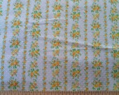"Vintage True White Swiss Dot Cotton with Floral Stripe Print estate fabric medium weight 45"" <2 yds"