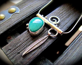 Chrysocolla Silver Bar Necklace - Charm Necklace - Silver Bar Pendant - Native Seeker SALE 20% OFF