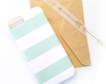 Wide Stripe iPhone / Samsung Case - Customize Color & Optional Monogram - Gift, Tech Accessory, Modern, Beachy, Preppy, Chic, Bold, Classic